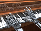 Robot playing the piano. Engineering simulation of robot dynamics is possible with SimApp